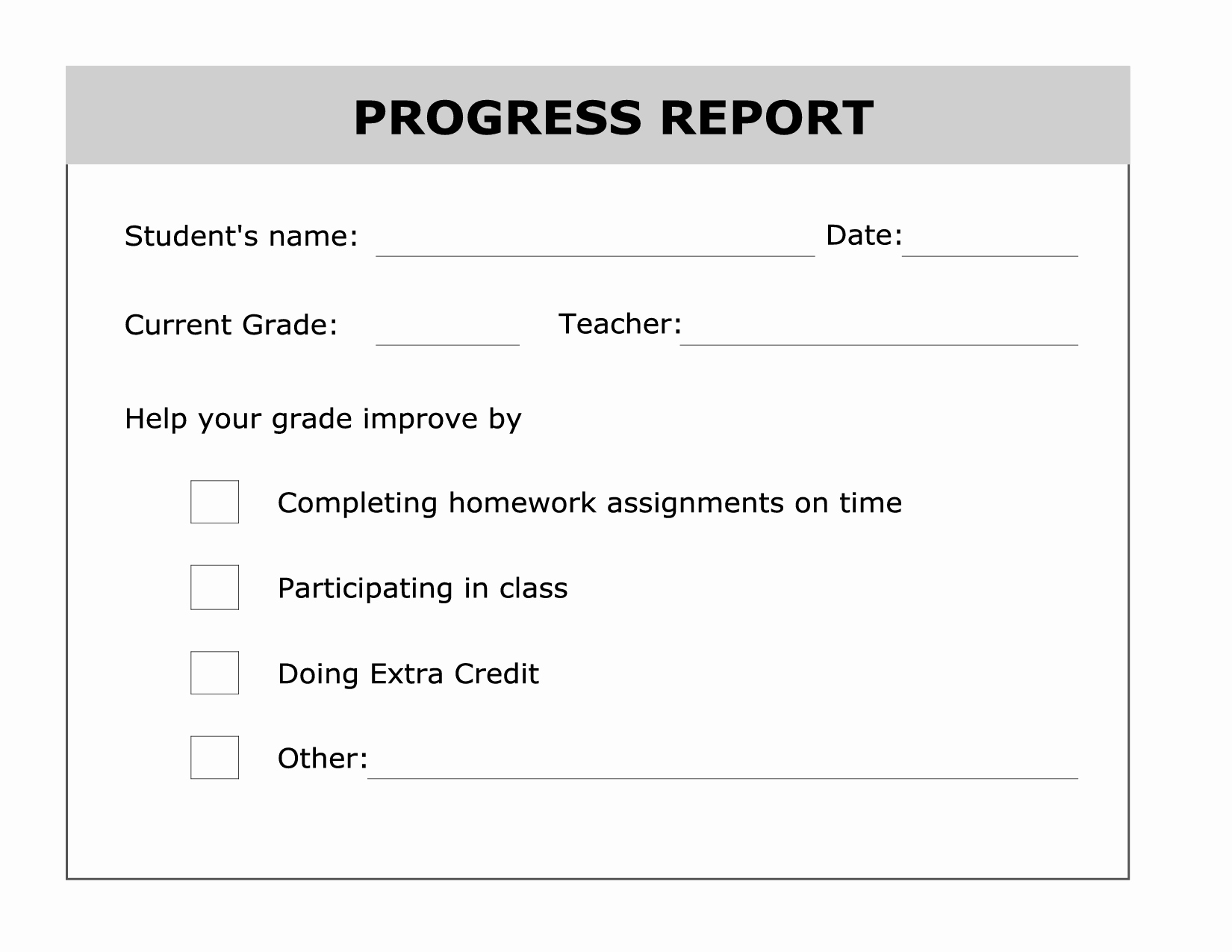 School Progress Report Template Inspirational Printable Progress Report Template Good Ideas