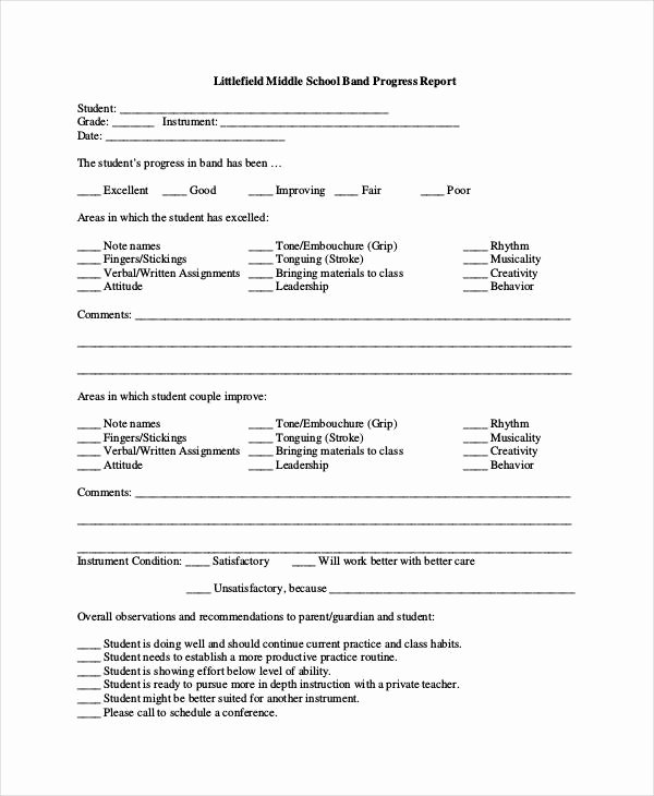 School Progress Report Template Lovely Progress Report Template 55 Free Pdf Ms Word Google