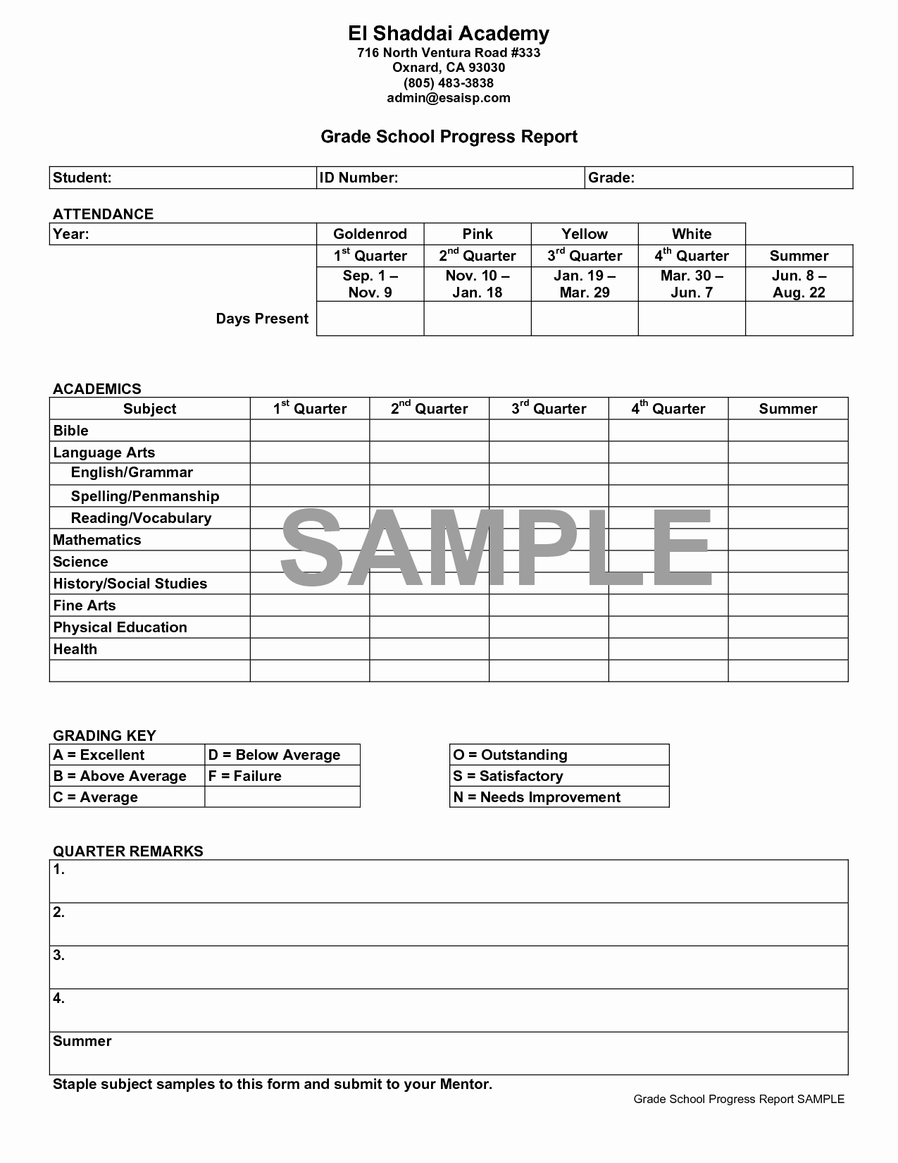 School Progress Report Template Luxury Best S Of Middle School Progress Report Template