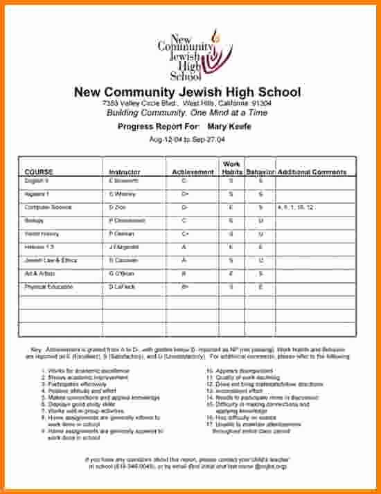 School Report Cards Templates Elegant 4 High School Report Card Template