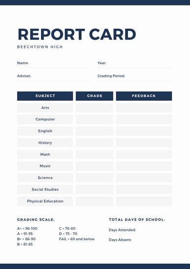 School Report Cards Templates Inspirational Customize 387 High School Report Card Templates Online