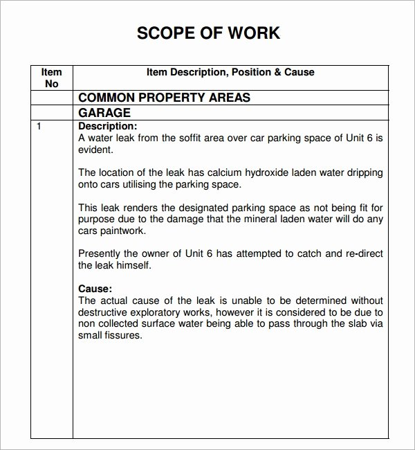Scope Of Works Sample Lovely Free 21 Sample Scope Of Work Templates In Pdf Word