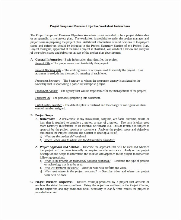 Scope Of Works Sample New Project Scope Template 8 Free Word Excel Pdf