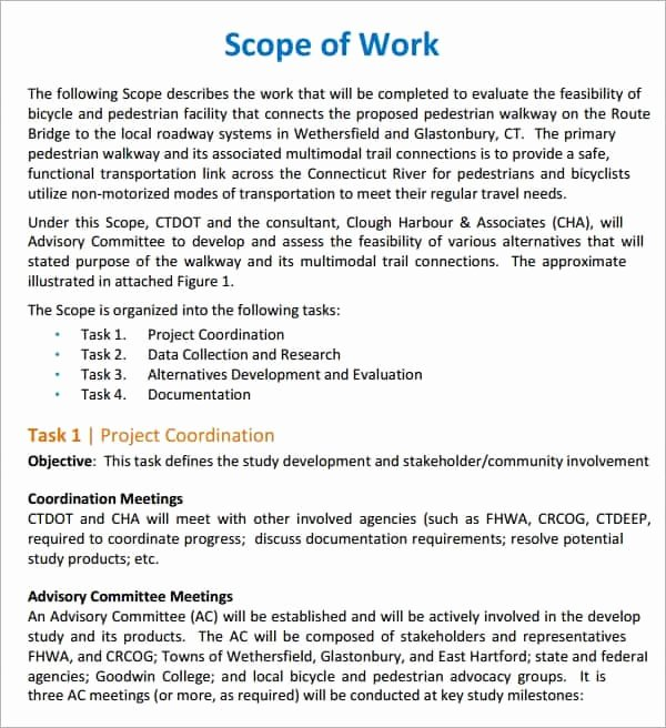 Scope Of Works Sample Unique 7 Construction Scope Of Work Templates Word Excel Pdf