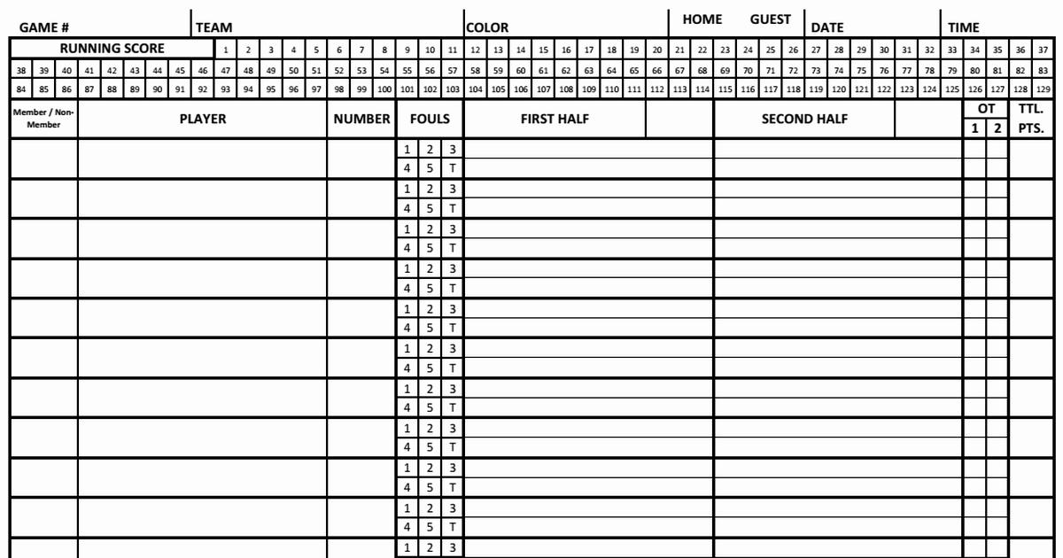 Score Sheets for Basketball Awesome Basketball Score Sheet 2018