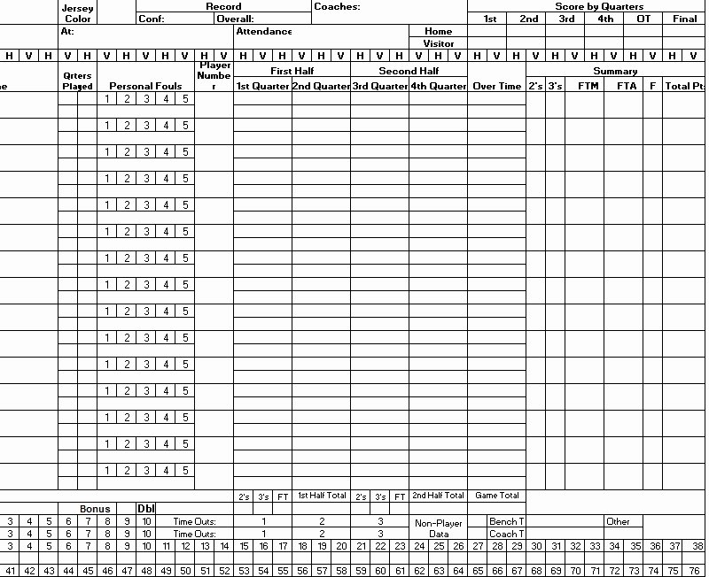 Score Sheets for Basketball Inspirational 8 Free Sample Basketball Score Sheet Samples Printable