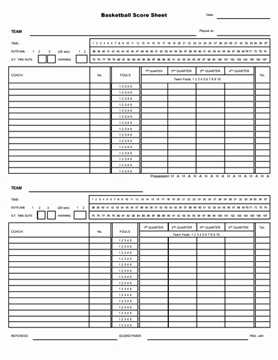 Score Sheets for Basketball Inspirational Basketball Score Sheet Free Download Create Edit Fill