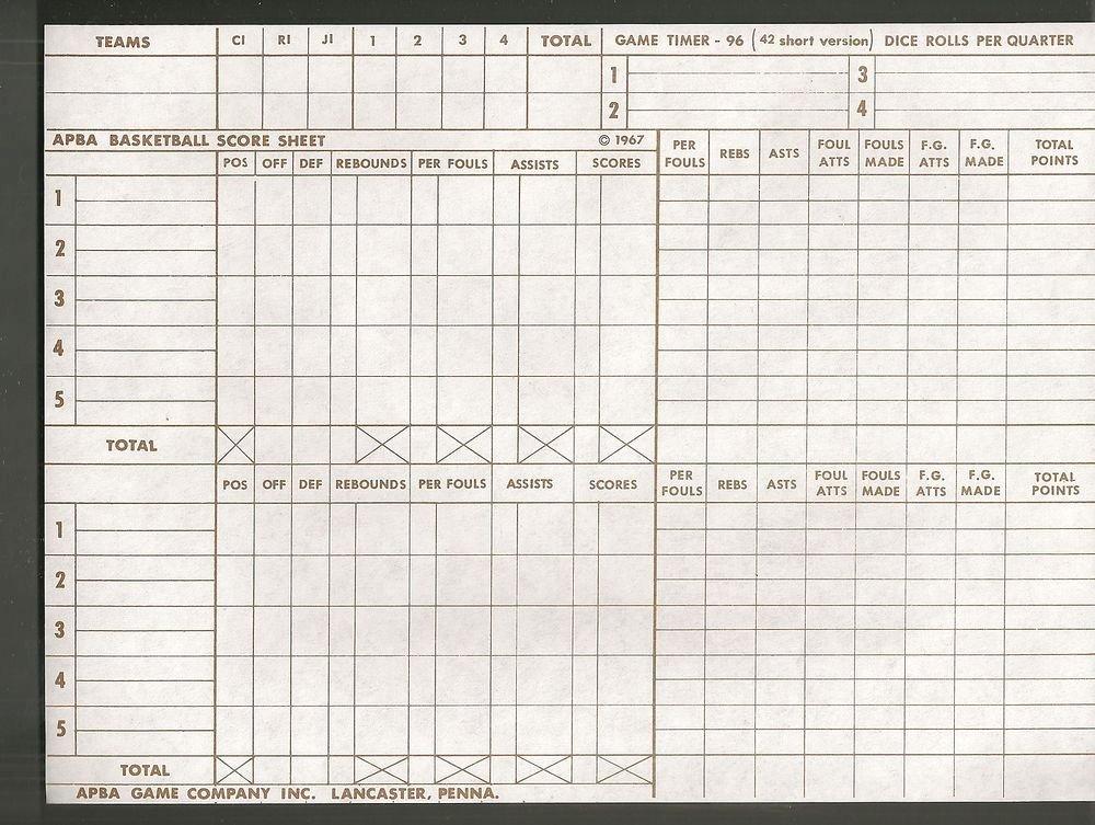 Scoring Sheet for Basketball Best Of Vintage Apba Basketball Score Sheet Lot Of 5 original