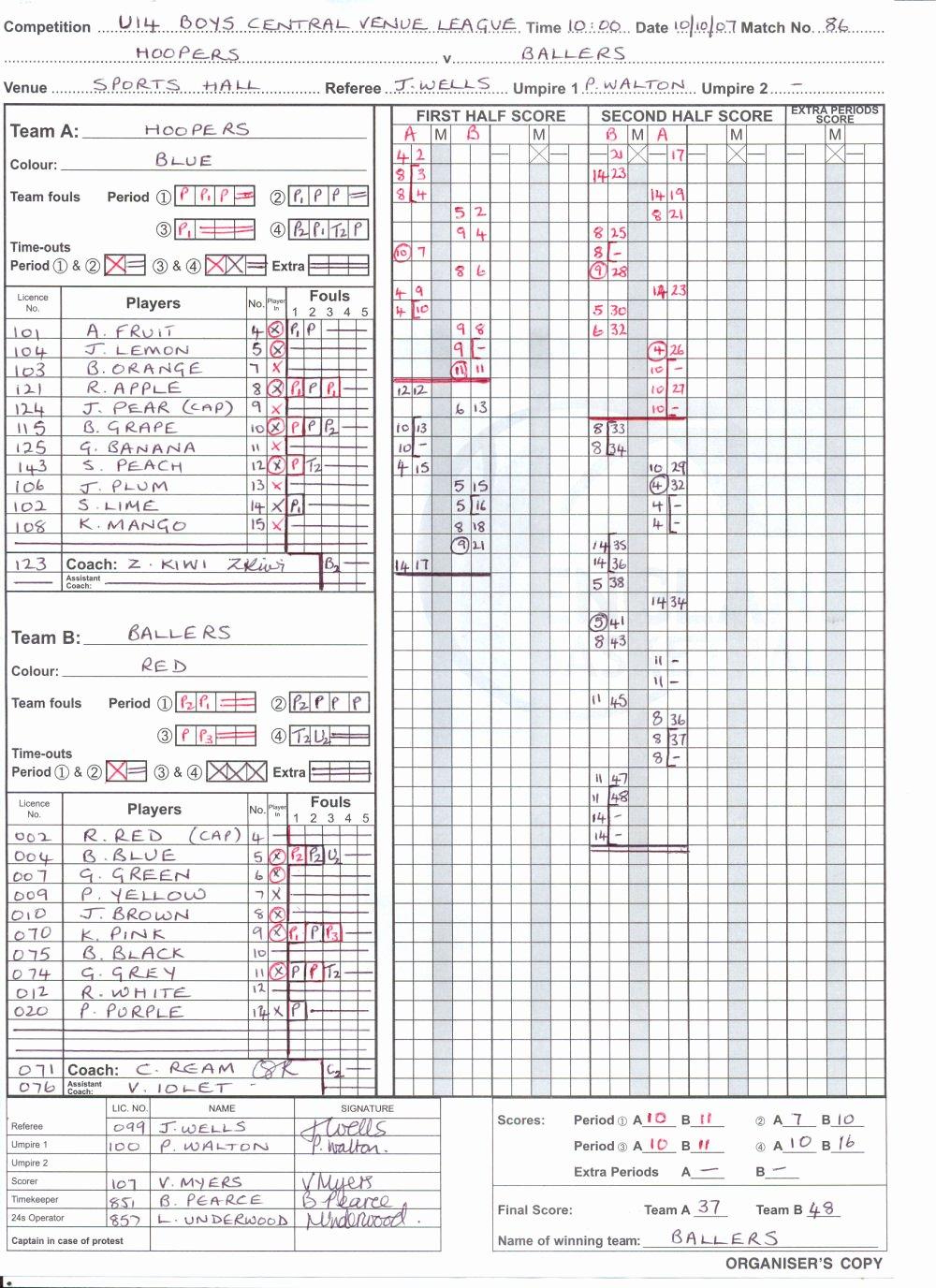 Scoring Sheet for Basketball Elegant Basketball
