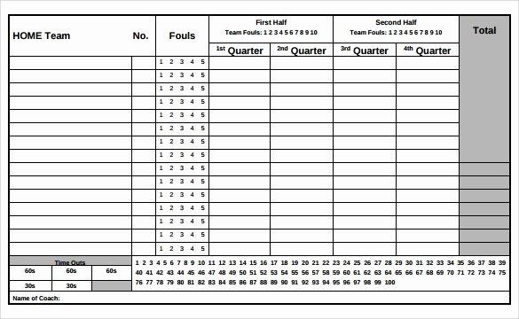 Scoring Sheet for Basketball Inspirational Free 11 Sample Basketball Score Sheets In Google Docs