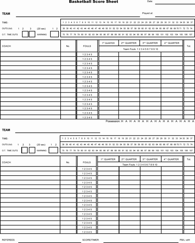 Scoring Sheet for Basketball Inspirational Printable Basketball Score Sheets Download In Pdf
