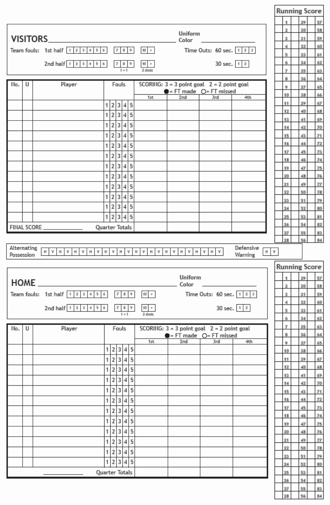 Scoring Sheet for Basketball Lovely Basketball Score Sheet Doc Pdf Page 1 Of 1
