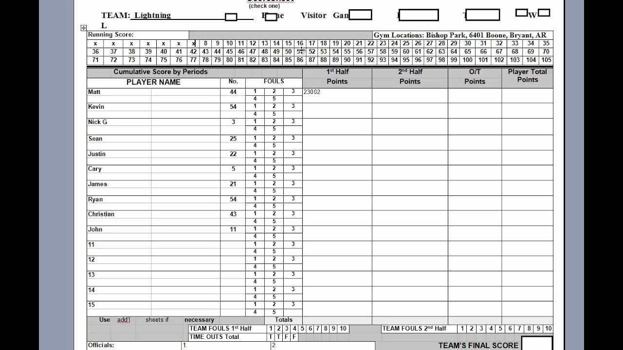 Scoring Sheet for Basketball Lovely Keeping the Basketball Scorebook