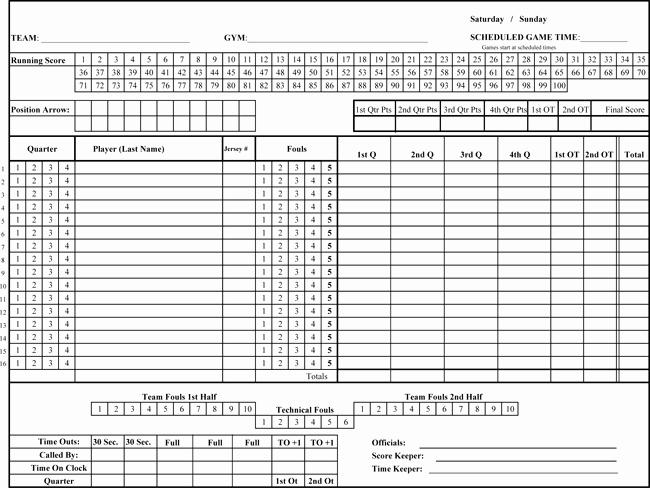 Scoring Sheet for Basketball New Printable Basketball Score Sheets Download In Pdf