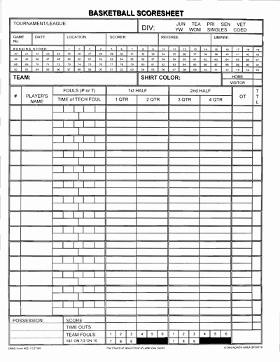 Scoring Sheets for Basketball Awesome Basketball Score Sheet Free Download Create Edit Fill