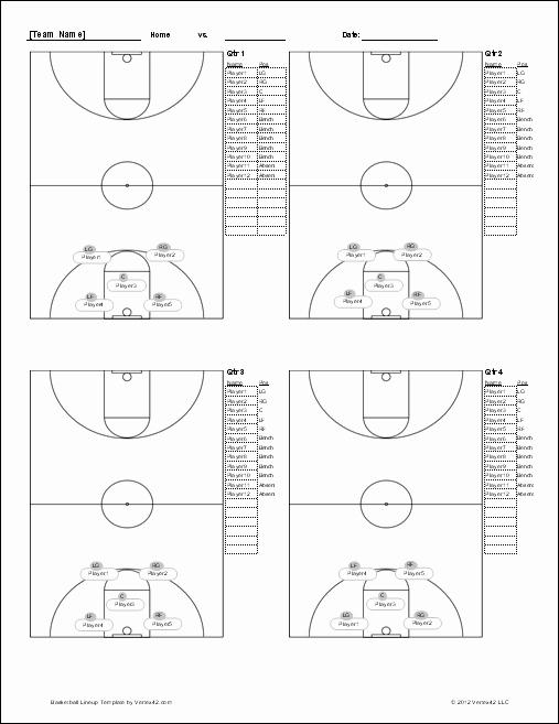 Scoring Sheets for Basketball Beautiful Basketball Lineup Sheet Screenshot