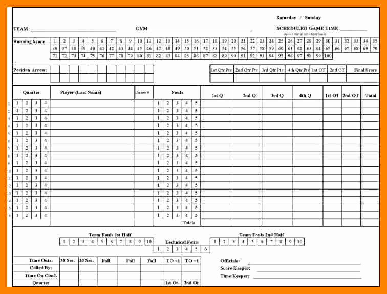 Scoring Sheets for Basketball Beautiful Basketball Score Sheet Template Dh Scorecard Best