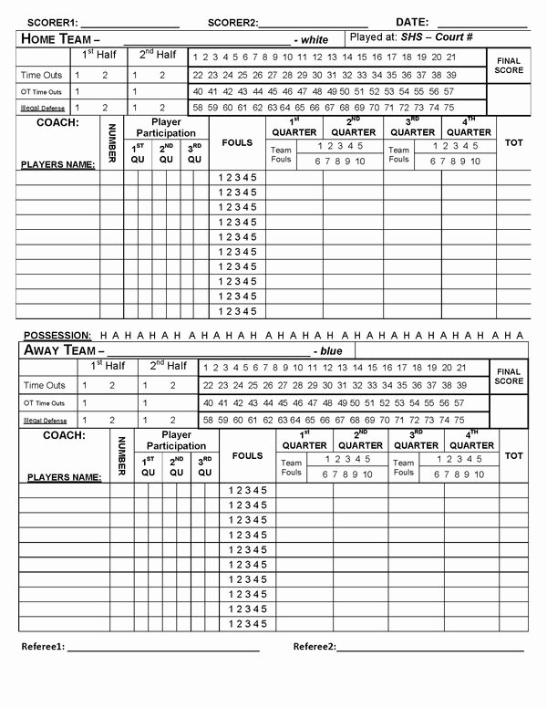 Scoring Sheets for Basketball Elegant Basketball Game Score Book