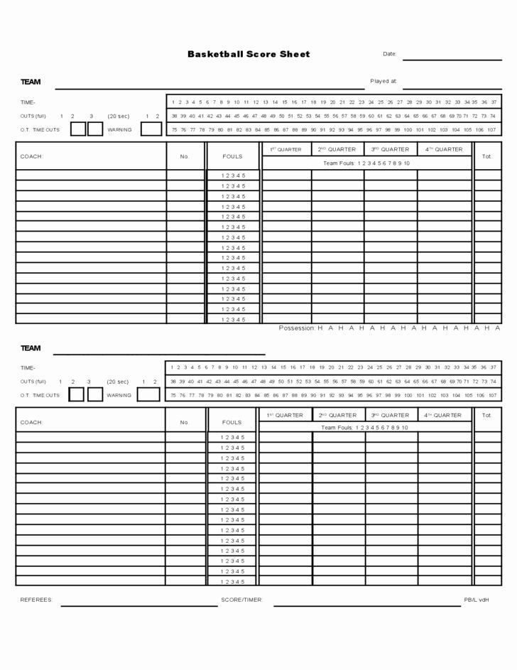 Scoring Sheets for Basketball Fresh Sample Basketball Score Sheet Free Download