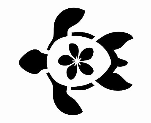 Sea Turtle Stencil Template Beautiful Turtle W Plumeria Stencil for Signs Fabric Canvas Walls