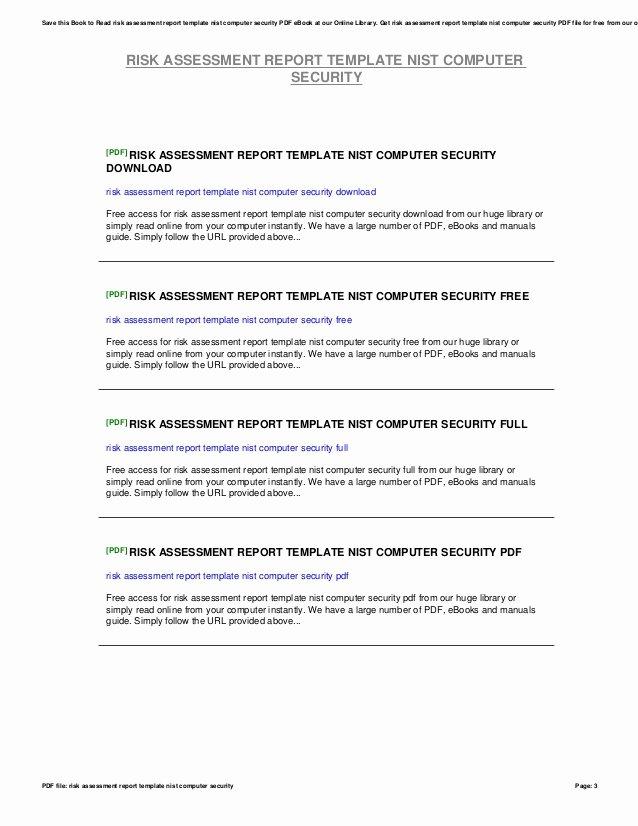 Security assessment Report Template Elegant Risk assessment Report Template Nist Puter Security
