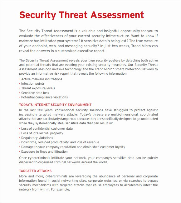 Security assessment Report Template Inspirational Sample Threat assessment 9 Documents In Pdf