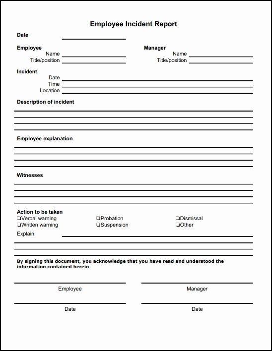 Security Daily Activity Report Template New Employee Incident Report Sample