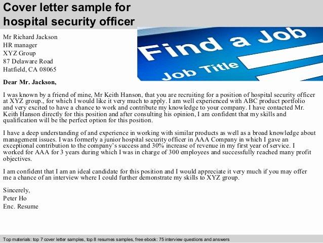 Security Officer Cover Letter Sample Fresh Hospital Security Officer Cover Letter