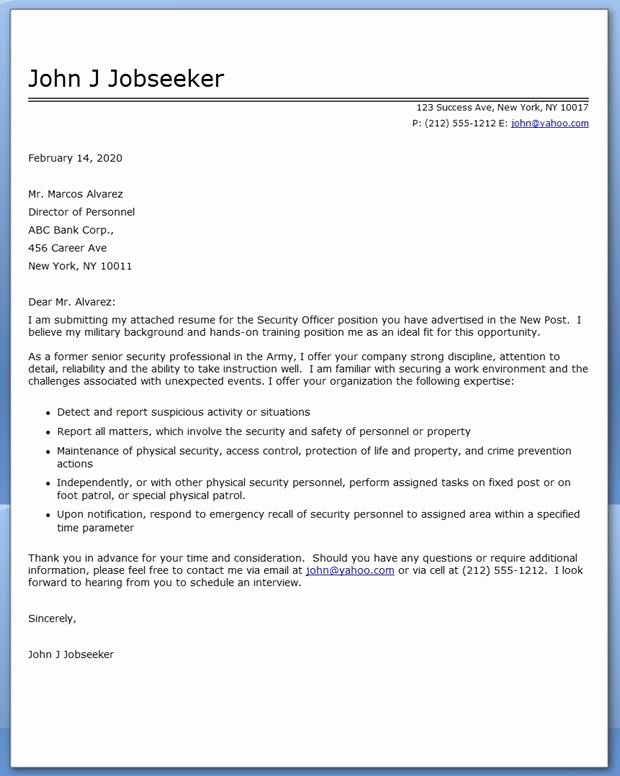 Security Officer Cover Letter Sample Inspirational Security Ficer Cover Letter