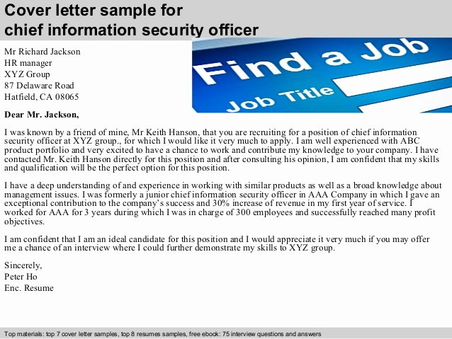 Security Officer Cover Letter Sample Luxury Chief Information Security Officer Cover Letter