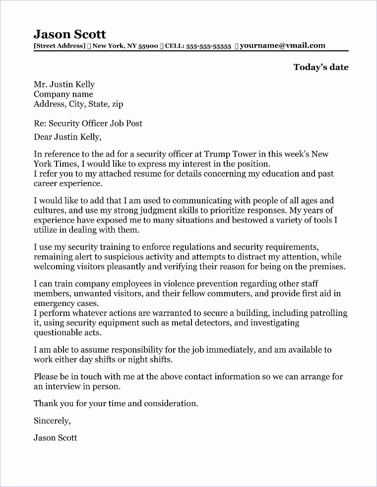 Security Officer Cover Letter Sample Luxury Security Ficer Cover Letter Sample