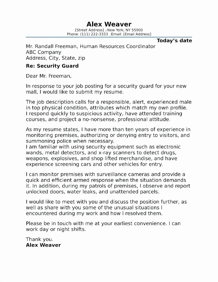 Security Officer Cover Letter Sample New 8 9 Cover Letter Examples for Security Jobs