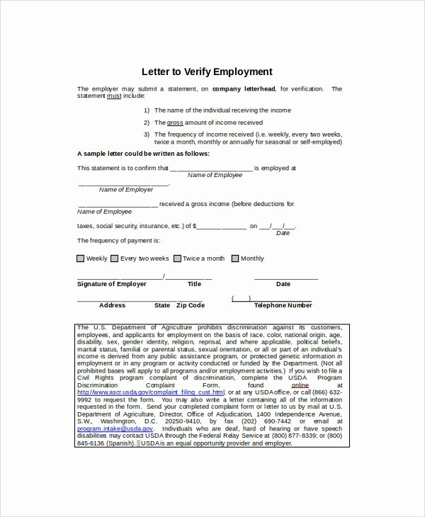 Self Employed Income Verification Letter Best Of Employment Verification Letter Templates 7 Documents In