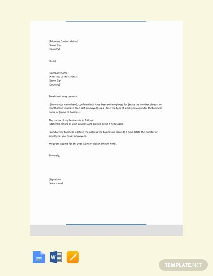 Self Employed Income Verification Letter Lovely Free Proof Of In E Letter for Self Employed Template