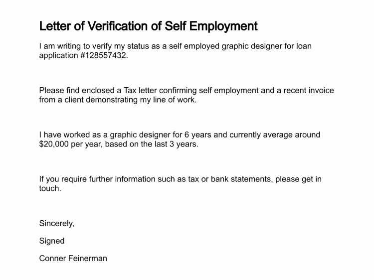 Self Employed Income Verification Letter Luxury Letter Of Verification