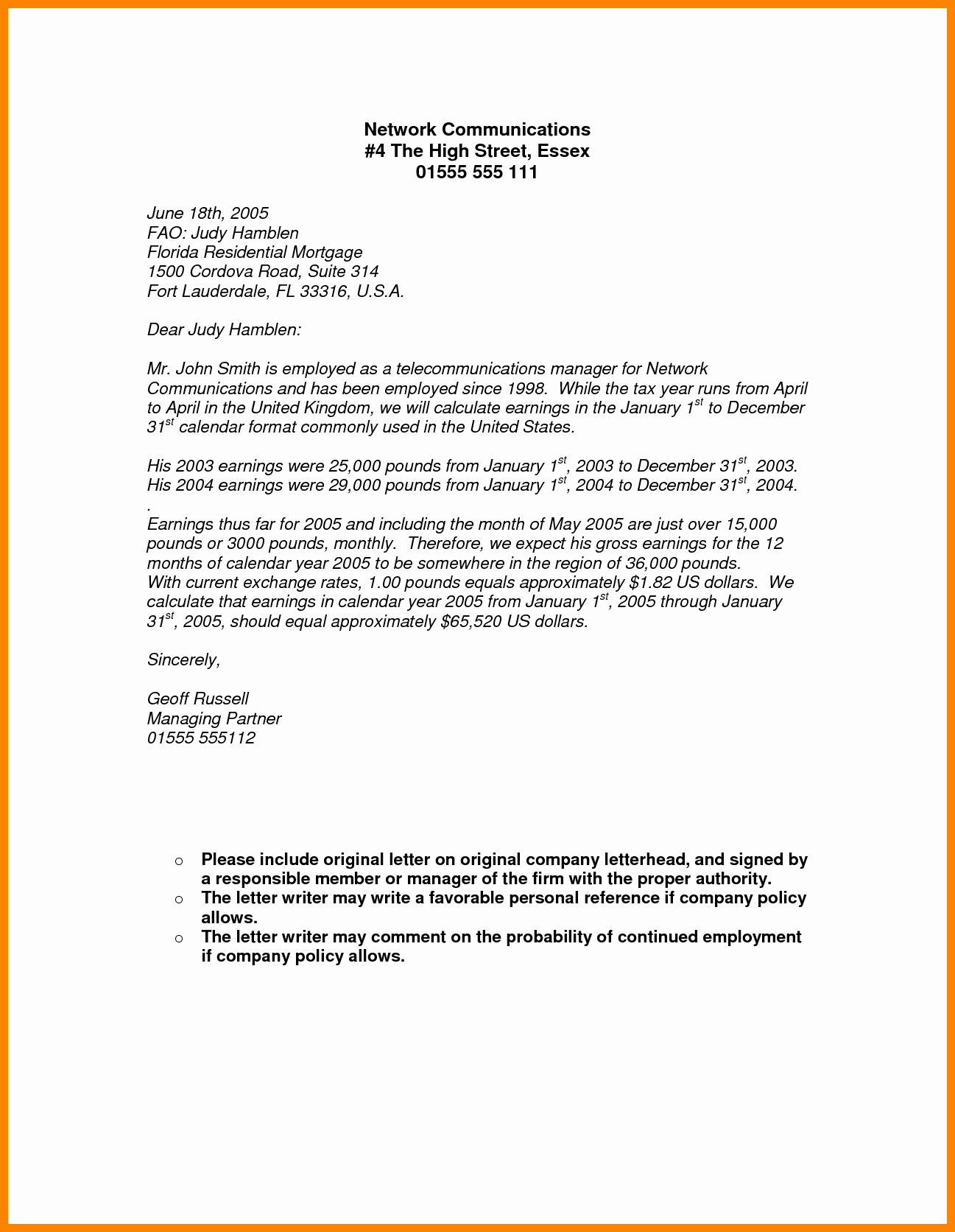 Self Employed Income Verification Letter New 9 Salary Proof Letter format