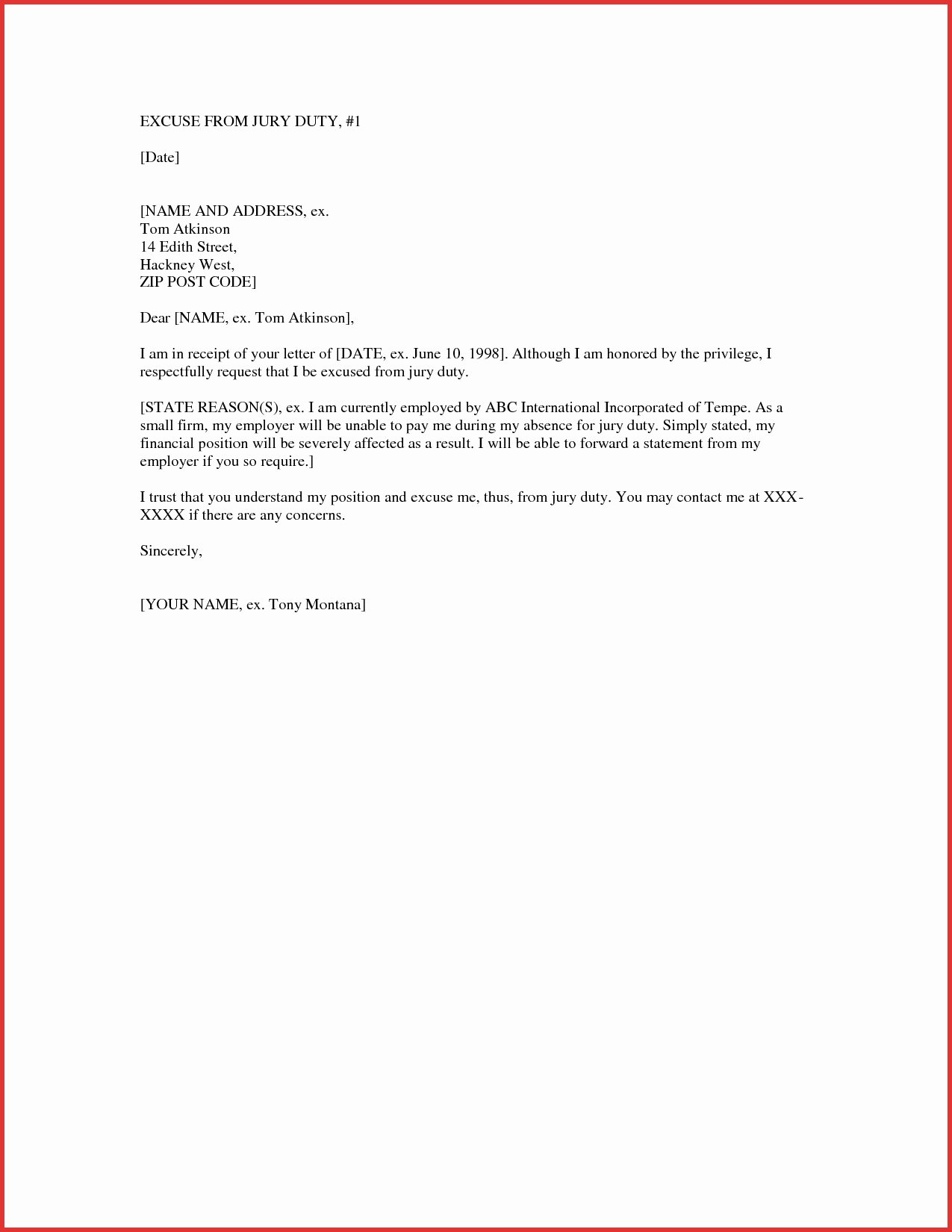 Self Employed Letter Template Beautiful 9 Example Of Jury Duty Excuse Letter