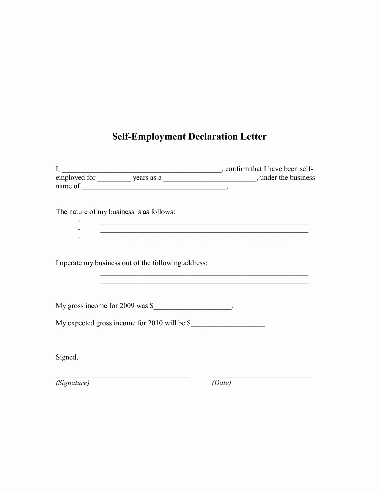 Self Employed Letter Template Fresh Self Employment Proof Of In E Letter Working at Home