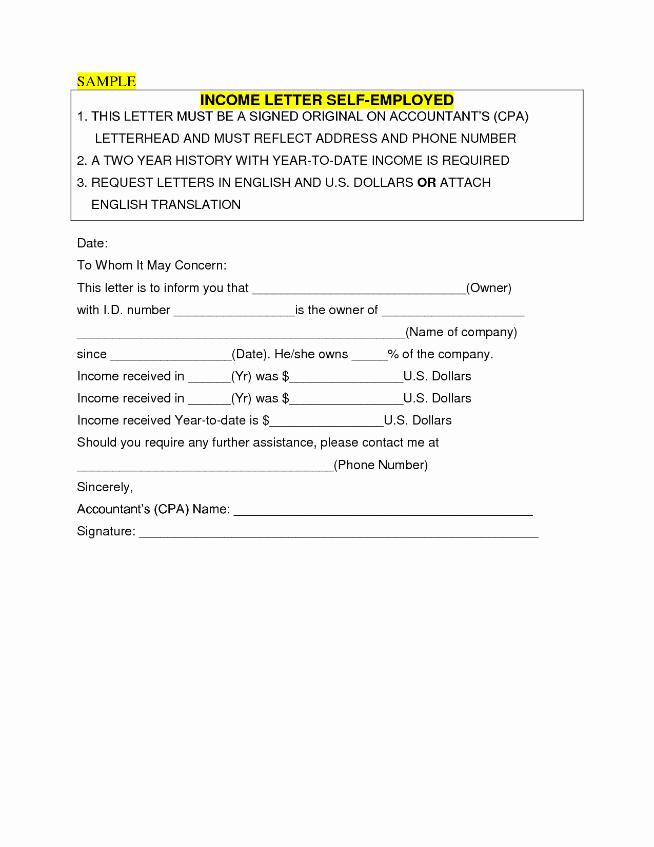 Self Employed Letter Template Luxury In E Verification Letter for Self Employed