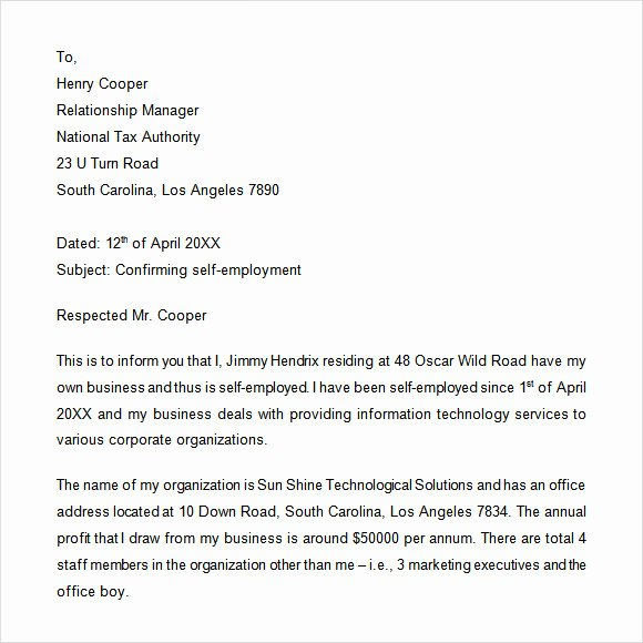 Self Employed Letter Template Unique Sample Proof Of Employment Letter 9 Download Free