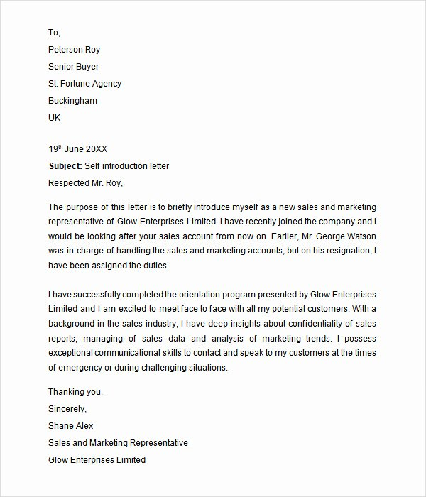 Self Introduction Letter Sample Beautiful Free 33 Sample Introduction Letters In Doc