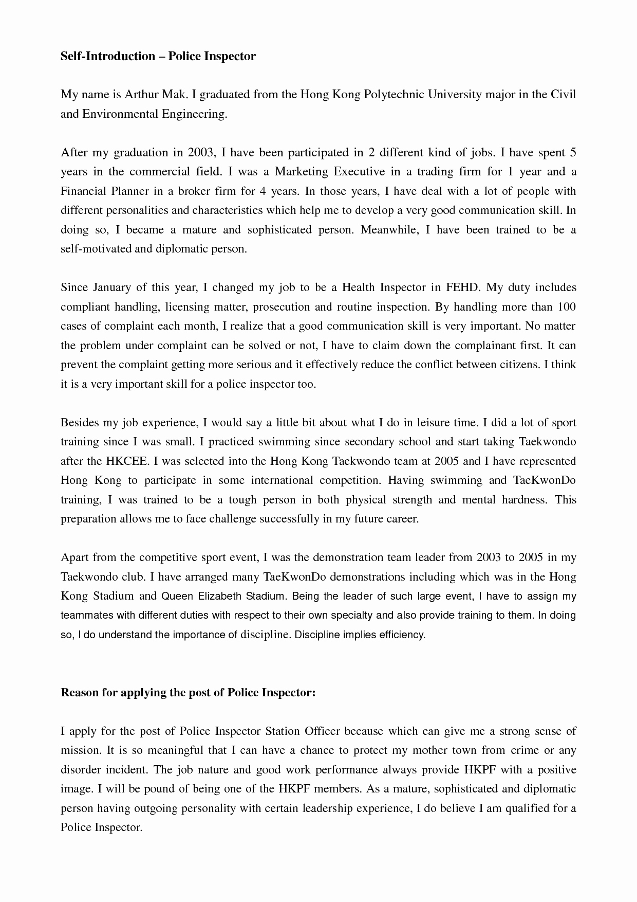 Self Introduction Letter Sample New Best S Of Professional Self Introduction Letter