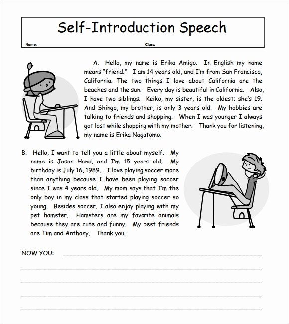 Self Introductory Speech Example Awesome 7 Self Introduction Speech Examples for Free Download Pdf