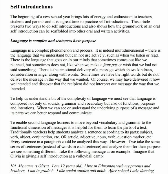 Self Introductory Speech Example Beautiful Self Introduction Examples Practicable Speech Outline