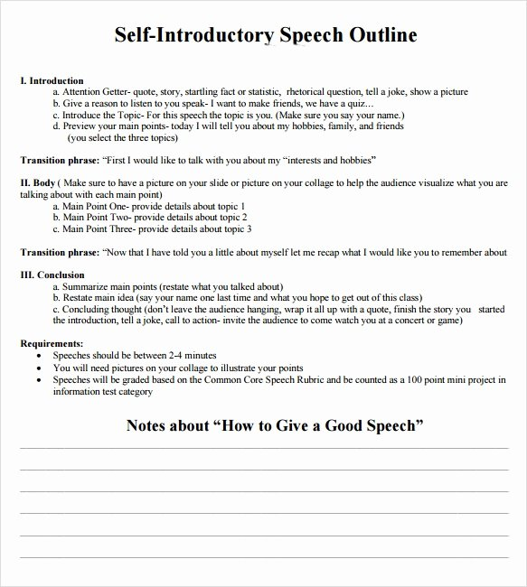 Self Introductory Speech Example Best Of 7 Self Introduction Speech Examples for Free Download Pdf