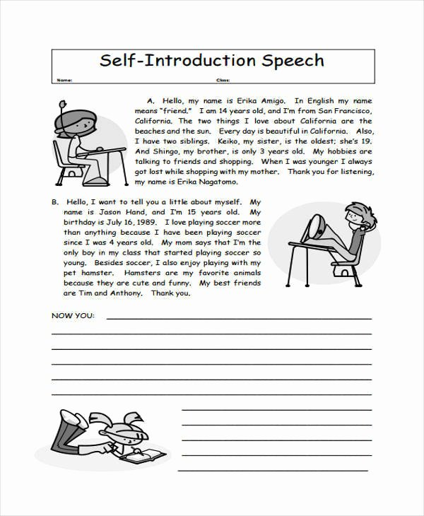 Self Introductory Speech Example Fresh Free 5 Introduction Speech Examples & Samples In Pdf