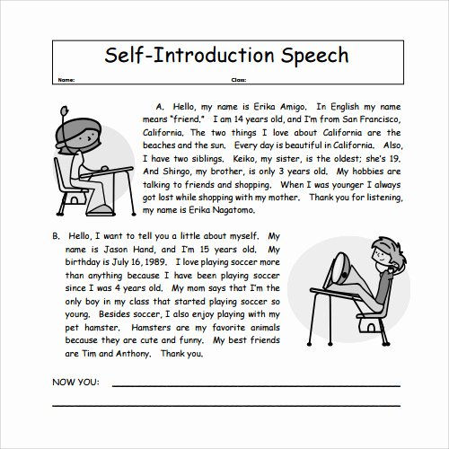 Self Introductory Speech Example Lovely 23 Sample Speech Examples Pdf