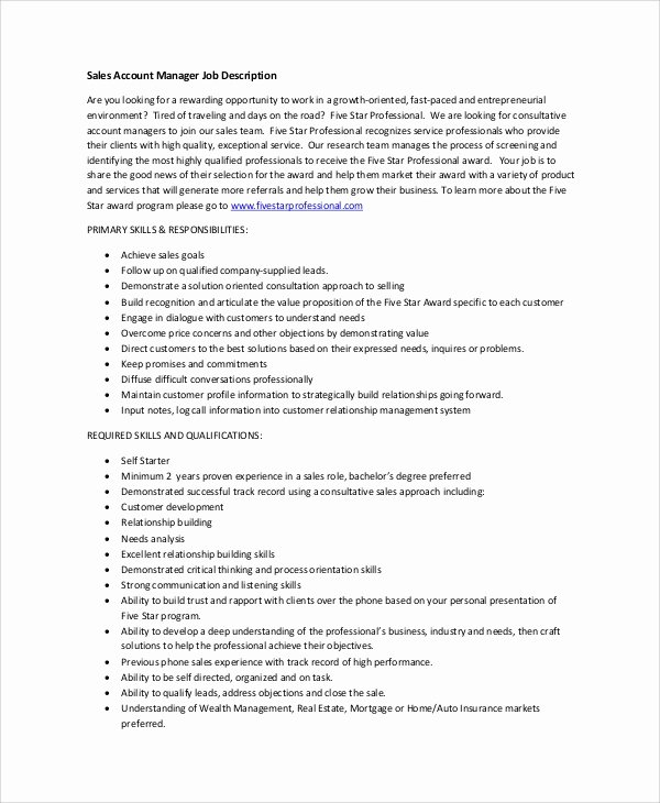 Senior Accounts Manager Job Description Awesome Sample Account Manager Job Description 7 Examples In Pdf