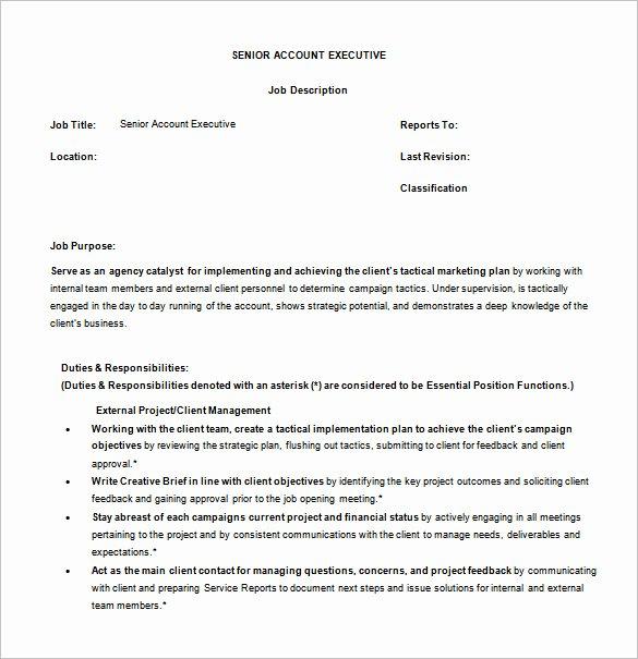 Senior Accounts Manager Job Description Beautiful 11 Account Executive Job Description Templates – Free