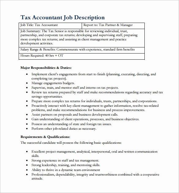 Senior Accounts Manager Job Description Beautiful 12 Accountant Job Description Templates Free Sample